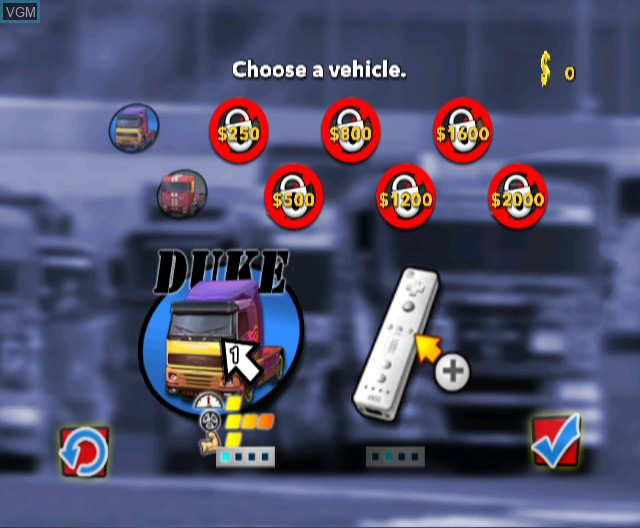 Menu screen of the game Rig Racer 2 on Nintendo Wii