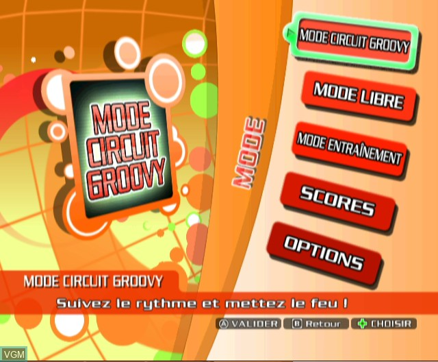 Menu screen of the game Dancing Stage - Hottest Party on Nintendo Wii