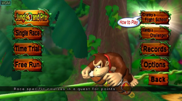 Menu screen of the game Donkey Kong Jet Race on Nintendo Wii
