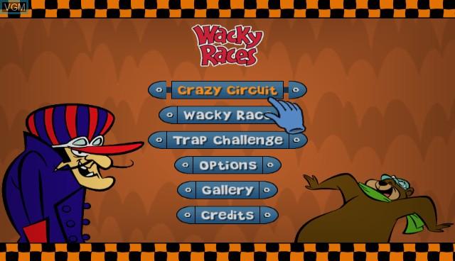 Menu screen of the game Wacky Races - Crash & Dash on Nintendo Wii