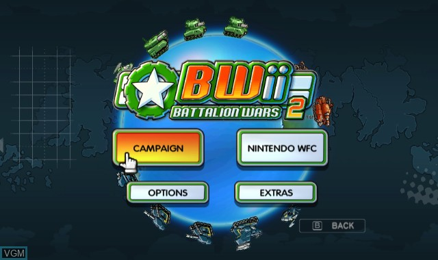Menu screen of the game Battalion Wars 2 on Nintendo Wii