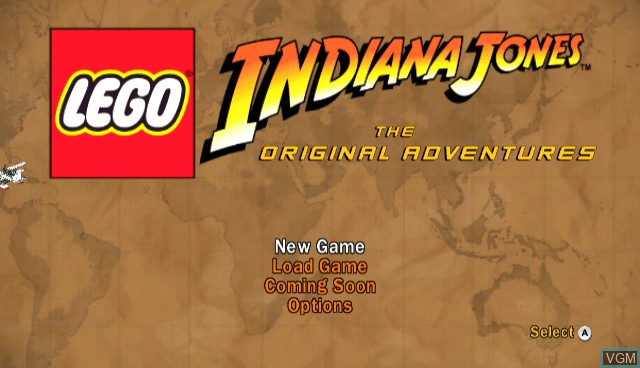 Menu screen of the game Lego Indiana Jones - The Original Adventures on Nintendo Wii