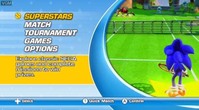Menu screen of the game Sega Superstars Tennis on Nintendo Wii