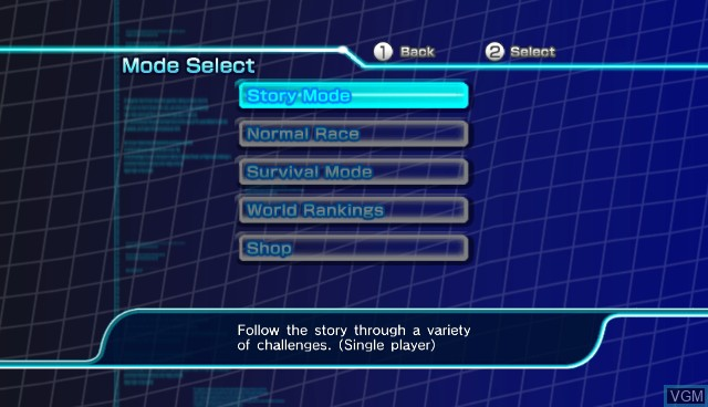 Menu screen of the game Sonic Riders - Zero Gravity on Nintendo Wii