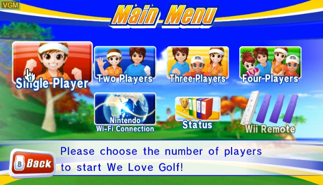 Menu screen of the game We Love Golf! on Nintendo Wii