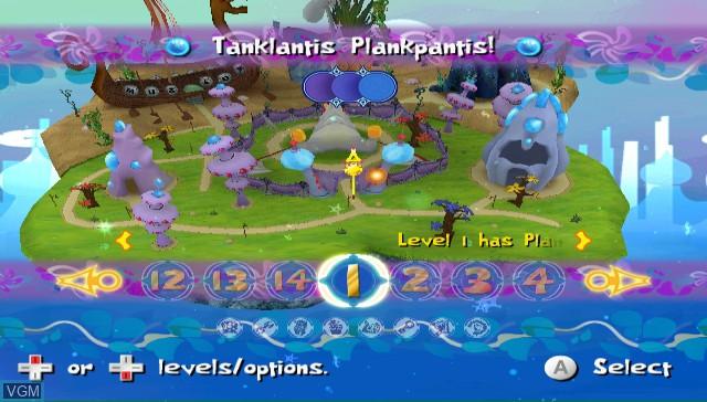 Menu screen of the game SpongeBob's Atlantis SquarePantis on Nintendo Wii