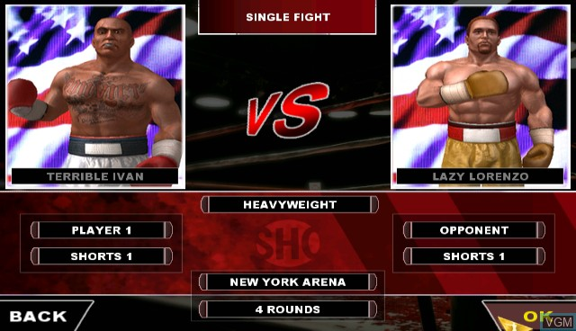 Menu screen of the game Showtime Championship Boxing on Nintendo Wii