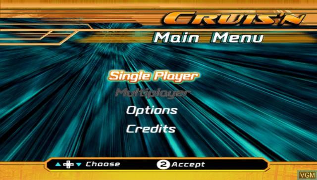 Menu screen of the game Cruis'n on Nintendo Wii