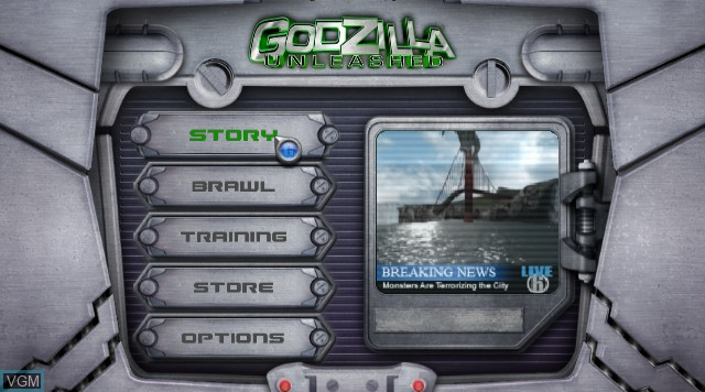 Menu screen of the game Godzilla Unleashed on Nintendo Wii