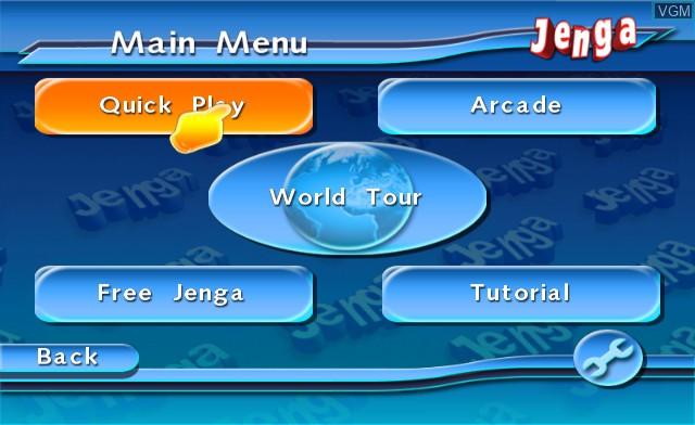 Menu screen of the game Jenga World Tour on Nintendo Wii