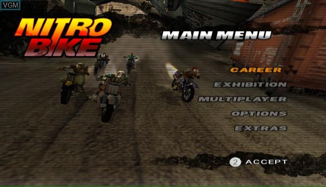 Menu screen of the game Nitrobike on Nintendo Wii