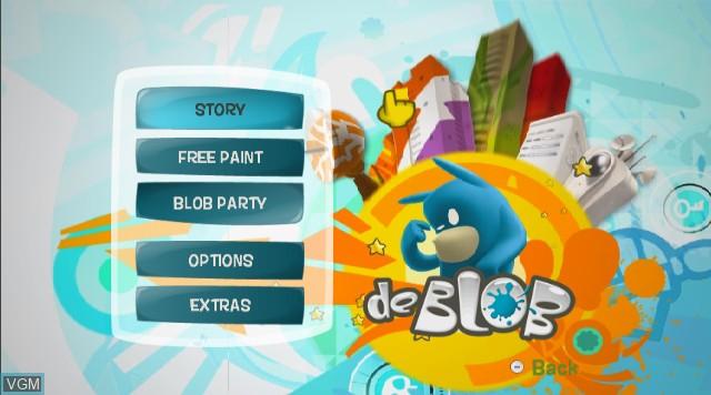 Menu screen of the game de Blob on Nintendo Wii