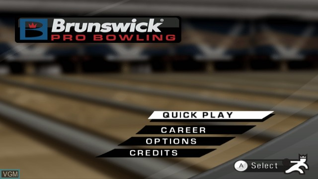 Menu screen of the game Brunswick Pro Bowling on Nintendo Wii