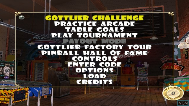 Menu screen of the game Gottlieb Pinball Classics on Nintendo Wii
