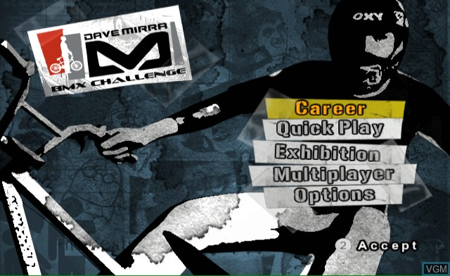 Menu screen of the game Dave Mirra BMX Challenge on Nintendo Wii