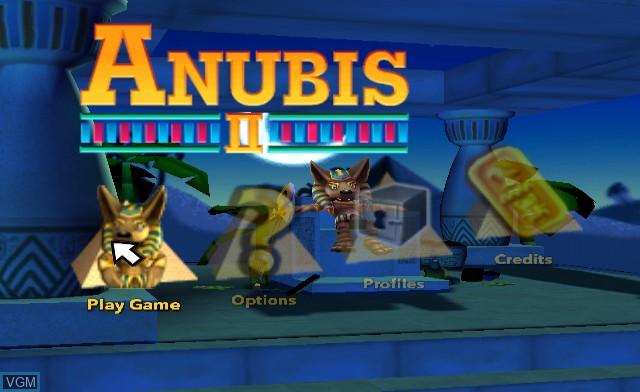 Menu screen of the game Anubis II on Nintendo Wii