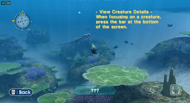 Menu screen of the game Endless Ocean on Nintendo Wii