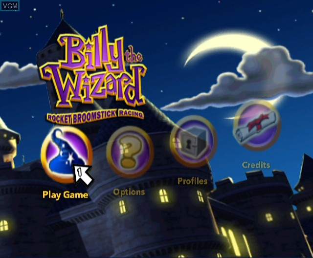 Menu screen of the game Billy the Wizard - Rocket Broomstick Racing on Nintendo Wii