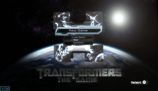 Menu screen of the game Transformers - The Game on Nintendo Wii