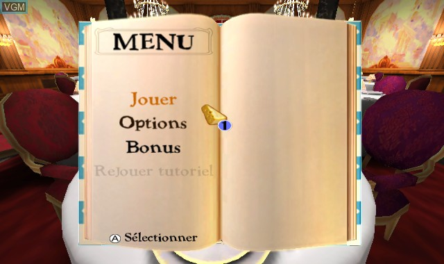 Menu screen of the game Ratatouille on Nintendo Wii
