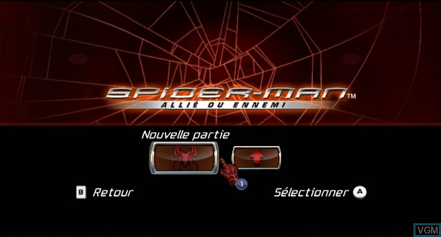 Menu screen of the game Spider-Man - Friend or Foe on Nintendo Wii