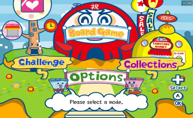 Menu screen of the game Tamagotchi Party On! on Nintendo Wii