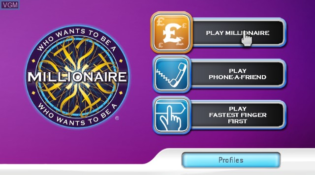 Menu screen of the game Who Wants to Be A Millionaire 2nd Edition on Nintendo Wii