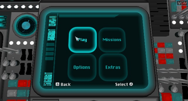 Menu screen of the game Space Chimps on Nintendo Wii