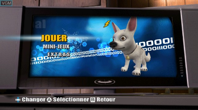 Menu screen of the game Bolt on Nintendo Wii