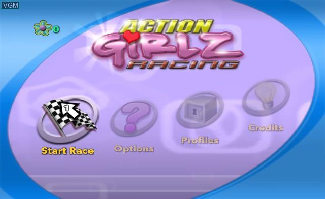 Menu screen of the game Action Girlz Racing on Nintendo Wii