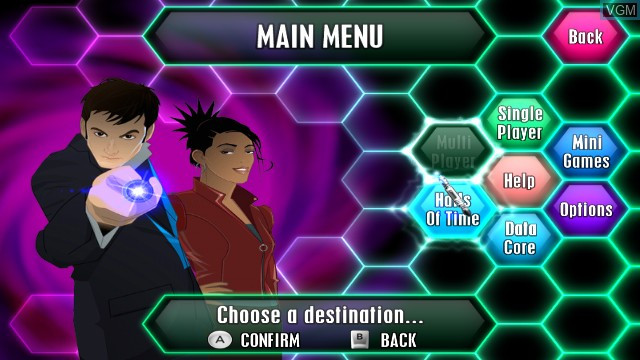 Menu screen of the game Top Trumps - Dr. Who on Nintendo Wii