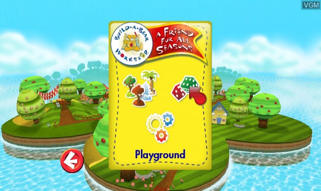 Menu screen of the game Build-A-Bear Workshop - A Friend Fur All Seasons on Nintendo Wii