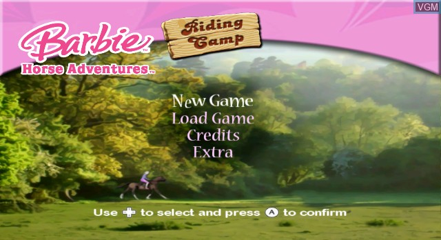 Menu screen of the game Barbie Horse Adventures - Riding Camp on Nintendo Wii