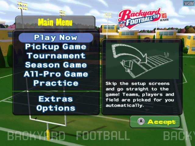 Menu screen of the game Backyard Football '09 on Nintendo Wii