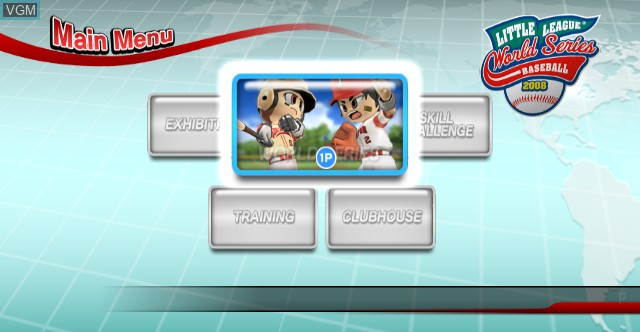 Menu screen of the game Little League World Series Baseball 2008 on Nintendo Wii