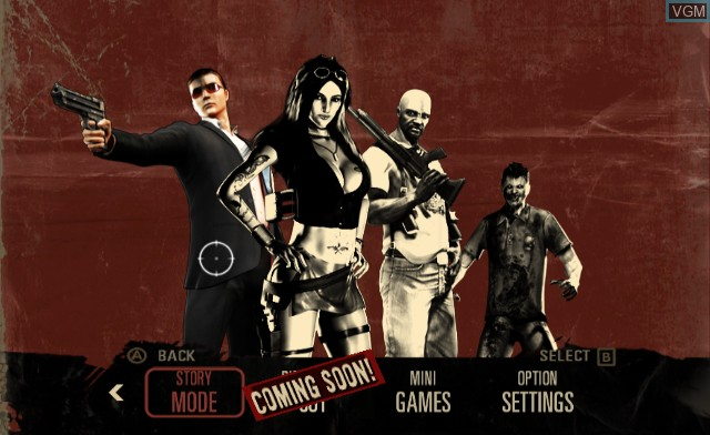 Menu screen of the game House of the Dead - Overkill on Nintendo Wii