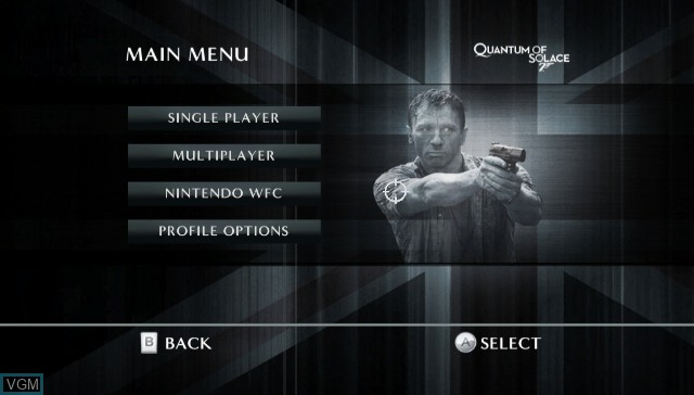 Menu screen of the game 007 - Quantum of Solace on Nintendo Wii