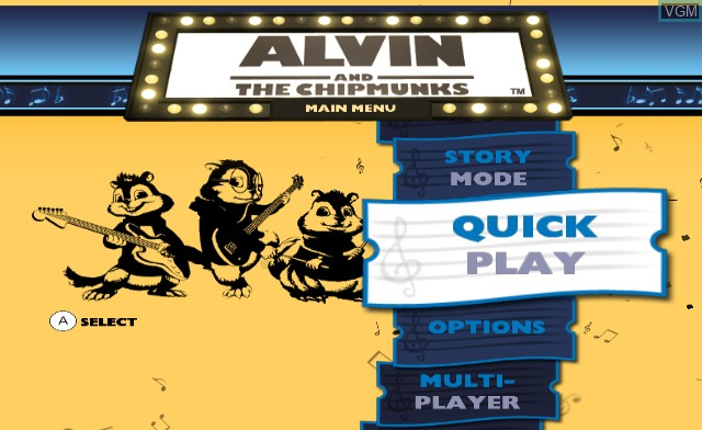 Menu screen of the game Alvin & the Chipmunks on Nintendo Wii