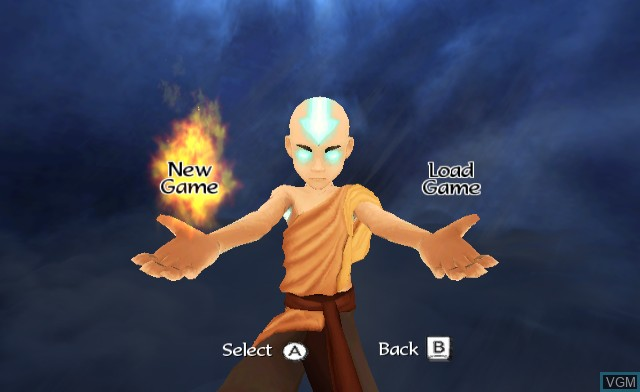 Menu screen of the game Avatar - The Legend of Aang - Into the Inferno on Nintendo Wii