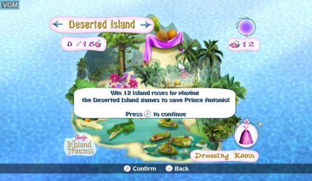 Menu screen of the game Barbie as The Island Princess on Nintendo Wii