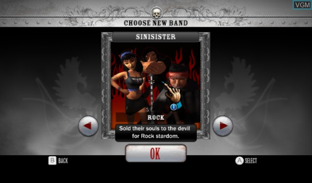 Menu screen of the game Battle of the Bands on Nintendo Wii