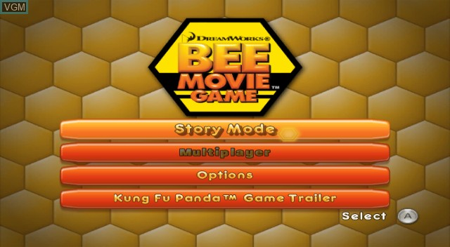 Menu screen of the game Bee Movie Game on Nintendo Wii