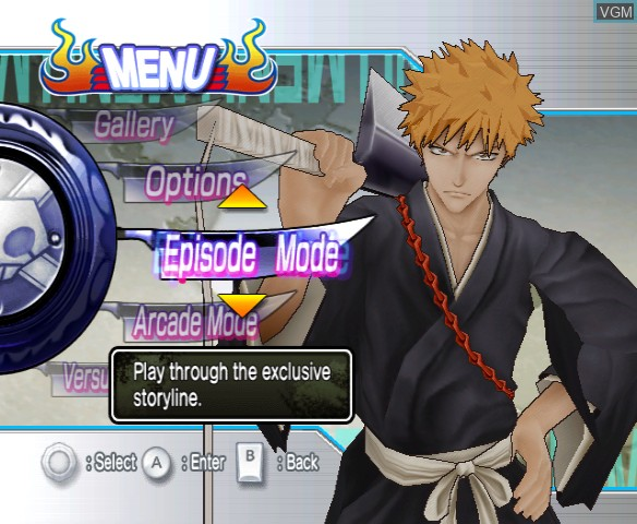 Menu screen of the game Bleach - Shattered Blade on Nintendo Wii