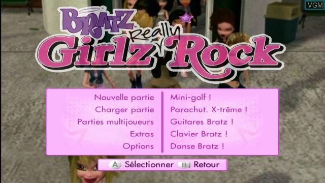 Menu screen of the game Bratz - Girlz Really Rock on Nintendo Wii