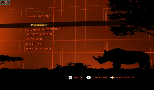 Menu screen of the game Cabela's Dangerous Hunts 2009 on Nintendo Wii