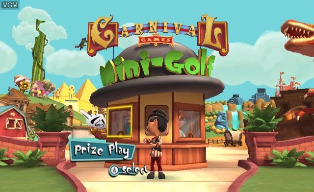 Menu screen of the game Carnival Games - Mini-Golf on Nintendo Wii