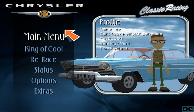 Menu screen of the game Chrysler Classic Racing on Nintendo Wii