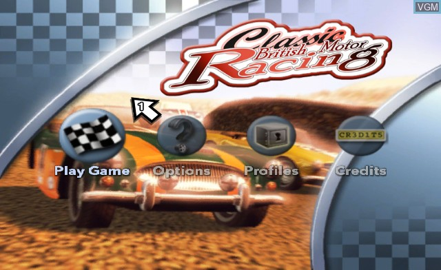 Menu screen of the game Classic British Motor Racing on Nintendo Wii