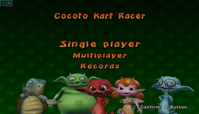Menu screen of the game Cocoto Kart Racer on Nintendo Wii