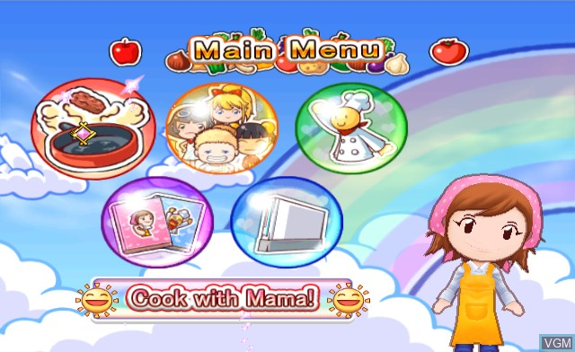 Menu screen of the game Cooking Mama 2 - World Kitchen on Nintendo Wii